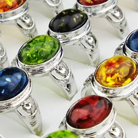 Wholesale Womens Rings Sale - Hot Sale Freeshipping Vintage 10pcs Mix Color Amber Silver Womens Mens Rings Wholesale Jewelry Lots A-912