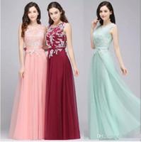schöne kleider für weihnachten großhandel-Schöne Applikationen Burgund Mint Green Pink Chic Abendkleider 2018 Neueste Weihnachtsfeier tragen Kleider mit Sash A Line Prom Kleider