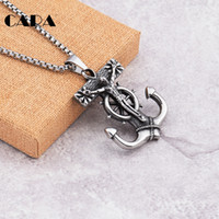 Wholesale Popcorn Silver Chain - CARA New Popcorn chain Silver color 316L stainless steel biker jesus anchor cross pendant mens gift punk jewelry CAGF0162