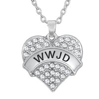 Wholesale Necklace Statement Newest - Newest Fashion design Single-Sided Elegant Pendant Sliver Color Rhodium Plated Letter WWJD Woman Statement Necklaces