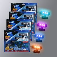 Wholesale Decorative Car Interiors - Factory Price Blue 4in1 12V 4x 3LED car Interior light Decorative Atmosphere Light Lamp Free Shipping 2658
