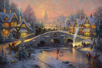 spirit oil - Spirit Of Christmas Thomas Kinkade Oil Paintings Art Wall Modern HD Print On Canvas Decoration No Frame