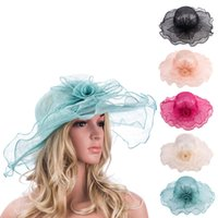 Wholesale Elegant Formal Hats - Womens Double Layers Wavy Edge Elegant Church Flower Sinamay Trim Wide Brim Wedding Party Hat T140