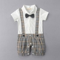 Wholesale Boys Christmas Bow Tie - Baby Boy Romper Boys Clothes Short Sleeve Cotton Bow Tie Gentleman Suspender Plaid Children Kids Clothing