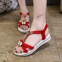 sapatos de verão sandal china venda por atacado-Chegam novas Novas Mulheres China Sandálias Flats Ankle-Strap Sapatos Sandálias Das Mulheres Sandálias Flip Flop Sandale Femme Vermelho Sandálias