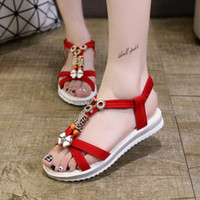 Wholesale Sandals Woman Shoes China - New Arrives New Women China Sandals Flats Ankle-Strap Shoes Women Summer Sandals Flip Flop Sandale Femme Red Sandals