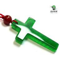 Wholesale Jade Crosses - Jewelry CHINESE ICY Green JADE Pendant Jesus Cross Necklace Pendant Necklaces