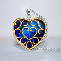 Wholesale legend zelda link - 10pcs lot Blue Heart Container Pendant, Piece of Heart, Legend of Zelda Inspired Necklace Glass Photo Cabochon Necklace