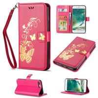 samsung s5 mini al por mayor-Bronceado impresión de cuero billetera funda mariposa más nueva cubierta para Samsung S5 S6 S7 S4 S5 Mini S6 Edge Plus