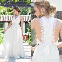 Wholesale Empire Belt Gown Chiffon Train - 2017 Bohemian Beach Wedding Dresses White Lace Back Applique Chiffon Long Wedding Bridal Gowns With Beaded Belts Plus Size Bride Vestido