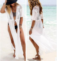 Wholesale White Loose Sleeve Dress - 2017 new summer women lace blouse stitching chiffon beach dress fashion sexy printing on both sides of slit loose white plus size dress