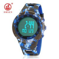 Wholesale Digital Watch Blue Lcd - NEW Fashion OHSEN Digital Mans Hombre Wristwatches Military Blue Rubber Strap Alarm Date LCD 50M Swimming Running Sports Male Watch Relojoes
