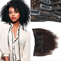 Wholesale Clip Ins Human - Afro Kinky Clip in Human Hair Extensions Brazilian Virgin Hair Medium Brown Cheap 120g Curly Clip ins FDSHINE HAIR
