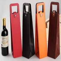 Wholesale Wholesale Wine Totes - Luxury Portable PU Leather Single Red Wine Bottle Tote Bag Packaging Case Gift Storage Boxes With Handle CCA6427 50pcs