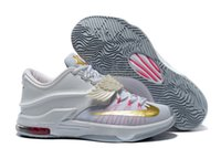 Wholesale Kd Mens - Cheap kd 7 aunt pearl shoes Mens Kevin Durant VII EP KD7 Basketball Shoes white gold Wholesale KD basketball shoes