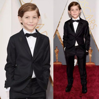 Wholesale Boy White Tuxedo Suit Wedding - Oscar Jacob Tremblay Children Occassion Wear Page Boy Tuxedo For Boys Toddler Formal Suits (Jacket+Pants+Bow Tie) Boy's wedding outfit