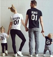 Wholesale Mother Son Clothes - New Family King Queen Letter Print tshirt Mother and Daughter father Son Clothes Matching Princess Prince FF-200