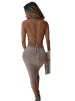Wholesale Low Back Cut Club Dress - Wholesale- Low Cut Sexy Backless Women Dress Open Back Spaghetti Strap Dress Black Night Club Bodycon Bandage Slim Dress Summer Style 2016