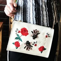Wholesale Envelope Bag Clutch Fashion Vintage - diamond party holder bags Italian luxury brand day clutches fashion handbags Rose Embroidery bag chain Shoulder crossbody Bags