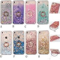 Wholesale Iphone 5s Sparkle Cases - Quicksand Bling Liquid Diamond Foil Glitter Hard PC Case For Iphone 7 Plus 6 6S SE 5 5S Gel TPU+Metal Finger Ring Moving Sparkle Holder Skin