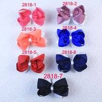 Wholesale Holiday Hairbows - Lot 20pcs baby girl 4.5 inch new style holidays party grosgrain ribbon flat hairbows clips 2818 Y