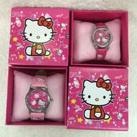 Wholesale Leather Gift Boxes Wholesale - Wholesale Cartoon Cat kids boys girls children cartoon quartz Children Wristwatch Watches With Boxes Party Favors Gift W1