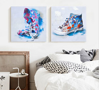 Wholesale Wholesale Canvas Shoes Paint - Hot Sale Modern Pop Art Cartoon Sneaker Shoes Wall Art Canvas Paint Oil Painting Home Decor Picture For Bedroom Living room