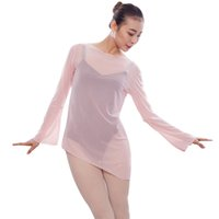 Wholesale Chiffon Long Ballet Skirt - Fashion Wpmen Ballet Dance Overalls Sexy Perspective Mesh Ballet Blouse Tops Tee Girls Long Sleeves Stage Dance Wear UA0296