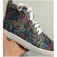 los mejores zapatos de moda de los hombres photo al por mayor-100% Real Photos Nueva Marca Hombres Mujeres Colorido Glitter Rojo Bottom Shoes, Moda Lentejuelas High Top Hombres Zapatillas Casual Flat Skateboard Shoes