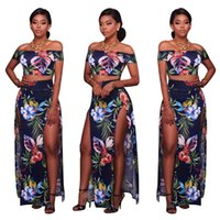 Wholesale Womens Dress Maxi Asymmetrical - Womens Sexy Floral Print Off the Shoulder Slash Neck Evening Two-piece High Slit Summer Beach Bodycon Dress Suit Clubwear Crop Tops