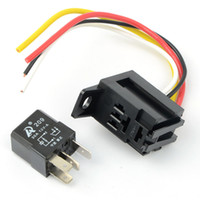 Wholesale relay light - Universal 4P 4 Pin 30A 12V DC Fixed Back Socket Relay Kit Car Pump Light Horn M00080