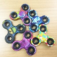 Wholesale Ads Single - Camouflage Fidget Spinner with Graphic different pattern hand spinner cheap price EDC tri angle fidgets Focus Toy EDC Toy For AD