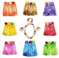 Wholesale Hawaiian Costumes Wholesale - Hula skirt 5 PCS  1SET Kid Grass Hula Skirt Hawaiian costumes Dress Party Supplies Costuhow Hula Grass Skirts Garlands Bracelet Head KKA2205