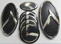 Wholesale Fiber Tail - Free shipping 1Set 7pcs New 3D black carbon K logo badge emblem fit KIA OPTIMA K5 2011-2015  car emblems 3D sticker