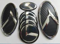 kia optima embleme großhandel-Freies verschiffen 1 Satz 7 stücke Neue 3D schwarz carbon logo abzeichen emblem fit KIA OPTIMA K5 2011-2018 / auto embleme / 3D aufkleber