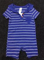 Wholesale Sailor Boy Autumn - Baby Boy Romper Cotton Summer Short Sleeve Striped Sailor Collar Good Quality Infant Jumpsuit Children Clothes