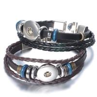 Wholesale Infinity Bracelet Metal - 2017 DIY Infinity Leather Wrap Bracelet Bracelets Metal Interchangeable Button Jewelry Weaving Beads Charms Jewelry 2 styles