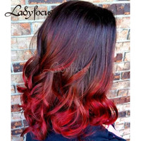 Lady Focus Ombre Red Full Lace Wigs With Baby Hair Perucas de cabelo humano Two Tone Natural Wave Onda peruca dianteira para mulheres negras