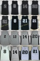 Wholesale Uniform Name - 2017 New 8 Patty Mills Jerseys 14 Danny Green 21 Tim Duncan Basketball Uniforms For Sport Fans Black White Gray All Stitched With Name