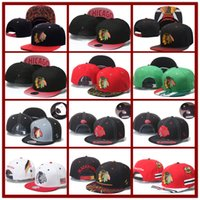 Wholesale Hockey Snapbacks - Hot Collection Men's Chicago Blackhawks Snapback Embroidery Team Logo Sports Adjustable Ice Hockey Caps Hip Hop Flat Visor Hat Send In