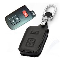 Wholesale Prado Key - Car Genuine Leather Remote Control Car Keychain Key Cover Case For Toyota Land Cruiser Prado 3Button Smart Key S153