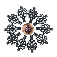 Wholesale Lotus Flower Bracelets - Charms 10pcs lot Black Color Lotus Flower Pearl Cage Pendant For Beads, Stones Locket Jewelry Making Necklace Bracelet DIY