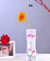 Wholesale folding flower vases resale online - Creative PVC Vase Clear Eco friendly Foldable Folding Flower Unbreakable Reusable Home Wedding Party Decoration vases