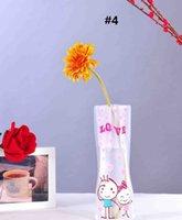 katlanır çiçek vazolar toptan satış-Yaratıcı PVC Vazo Temizle Çevre Dostu Katlanabilir Katlanır Çiçek Kırılmaz Kullanımlık Ev Düğün Dekorasyon vazolar 77