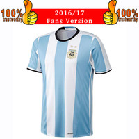 Wholesale Shirt Men Free - 2017 Argentina Soccer Jersey 2016 17 Argentina Home Blue Football Shirt 2016 Messi Aguero Di Maria Jerseys Thai Quality Free Shipping