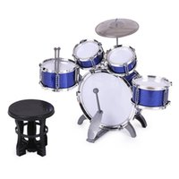 Wholesale Cymbals Children - Children Kids Drum Set Musical Instrument Toy 5 Drums with Small Cymbal Stool Drum Sticks for Boys Girls