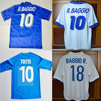 miúdos de futebol dos eua venda por atacado-94 98 Itália Totti Retro Futebol Calcio MAGLIA 02 04 06 Itália Baggio Maldini Pirlo Del Piero Inzaghi Nesta Clássico Camisas De Futebol