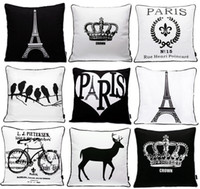 Wholesale Mustache Silver - Paris Eiffel Tower Crown Cushion Cover Nordic Modern Black And White Beard Mustache Cushion Covers Retro Bike Bicycle Pattern Pillow Case