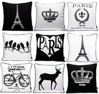Wholesale Cushion Eiffel - Paris Eiffel Tower Crown Cushion Cover Nordic Modern Black And White Beard Mustache Cushion Covers Retro Bike Bicycle Pattern Pillow Case
