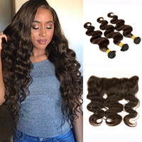 3 paquets avec dentelle Frontal Body Wave Raw Virgin Indian Cheveux humains Weave Brown foncé Ear to Ear Frontal Brazilian Brazilian peru Hair Bundles